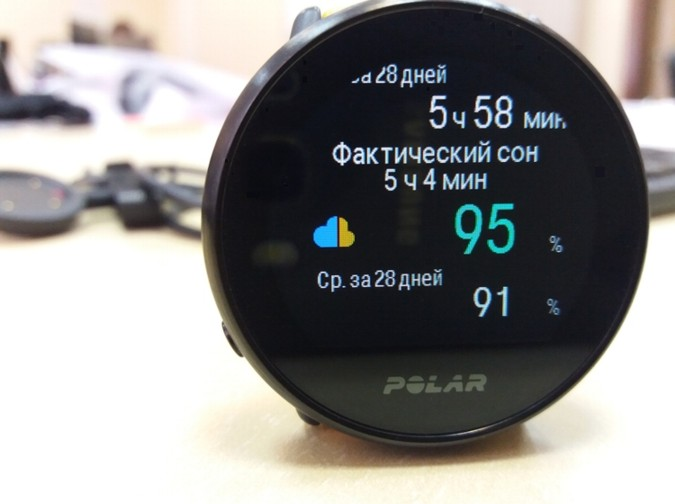 детализация сна - время засыпания в фитнес мониторе Polar Ignite
