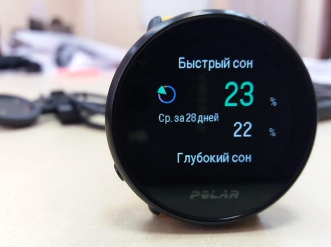детализация сна - быстрый сон в фитнес мониторе Polar Ignite